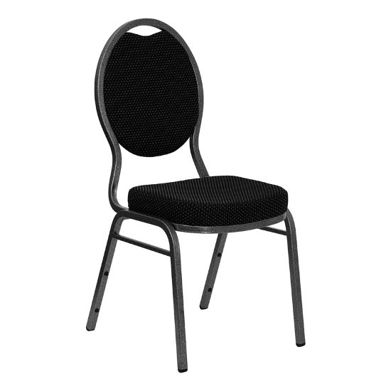 #32 - TEARDROP BACK BANQUET CHAIR WITH BLACK FABRIC