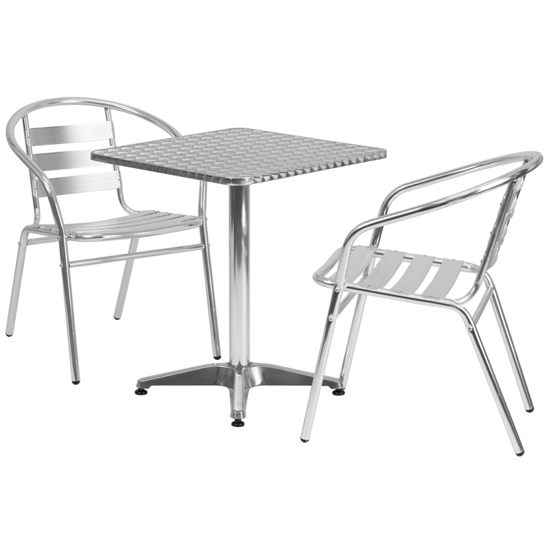 #7 - 23.5'' Square Aluminum Indoor-Outdoor Table with 2 Slat Back Chairs