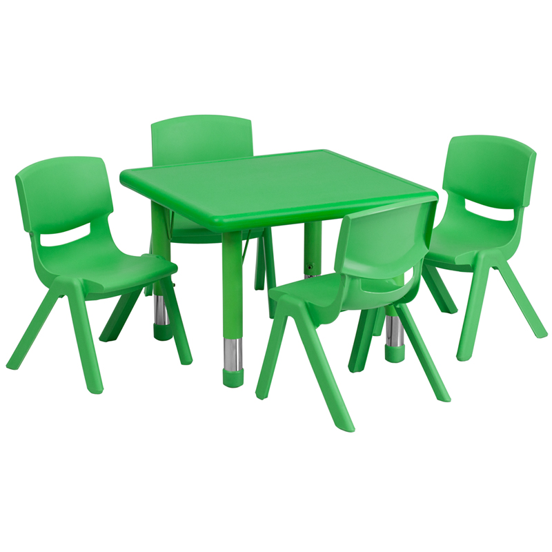 #22 - 24'' SQUARE ADJUSTABLE GREEN PLASTIC ACTIVITY TABLE SET WITH 4 SCHOOL STACK CHAIRS