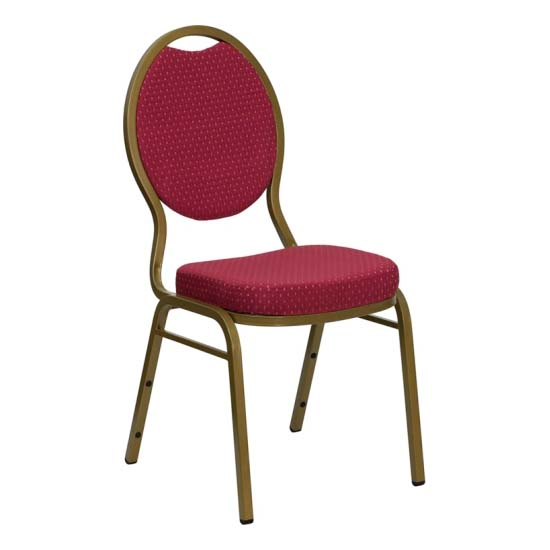 #33 - TEARDROP BACK BANQUET CHAIR WITH BURGUNDY FABRIC
