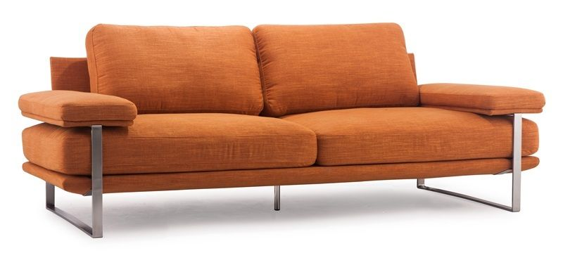#17 - Modern Style Sofa in Orange w/Plump Cushions & Brushed Stainless Steel Frame