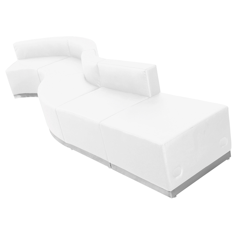 #78 - LOUNGE SERIES WHITE LEATHER RECEPTION CONFIGURATION, 5 PIECES