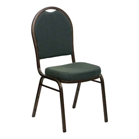 #29 - DOME BACK BANQUET CHAIR WITH GREEN FABRIC