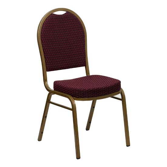#28 - DOME BACK BANQUET CHAIR WITH BURGUNDY FABRIC
