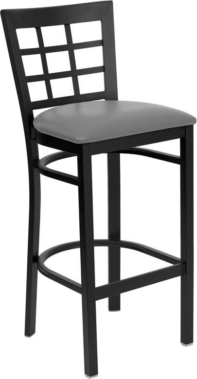 #122 - BLACK WINDOW BACK METAL RESTAURANT BAR STOOL AND GRAY VINYL SEAT
