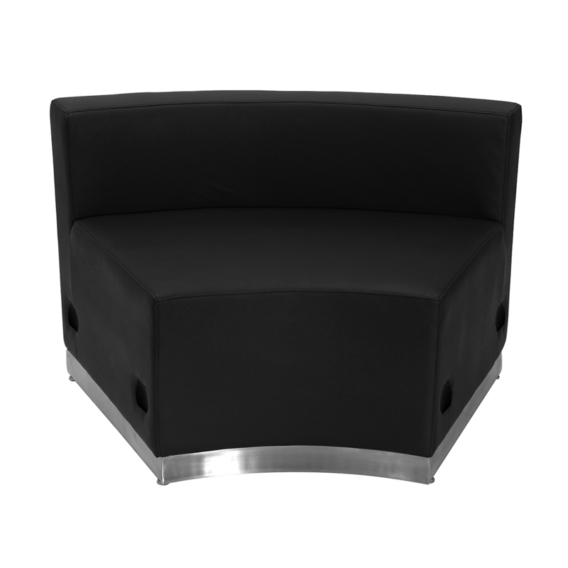 #2 - LOUNGE SERIES BLACK LEATHER CONCAVE CHAIR WITH BRUSHED STAINLESS STEEL BASE