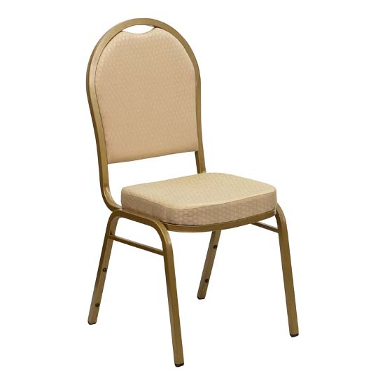 #27 - DOME BACK BANQUET CHAIR WITH BEIGE FABRIC
