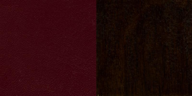 #35 - WALNUT FINISHED LADDER BACK WOODEN RESTAURANT BAR STOOL WITH BURGUNDY VINYL SEAT