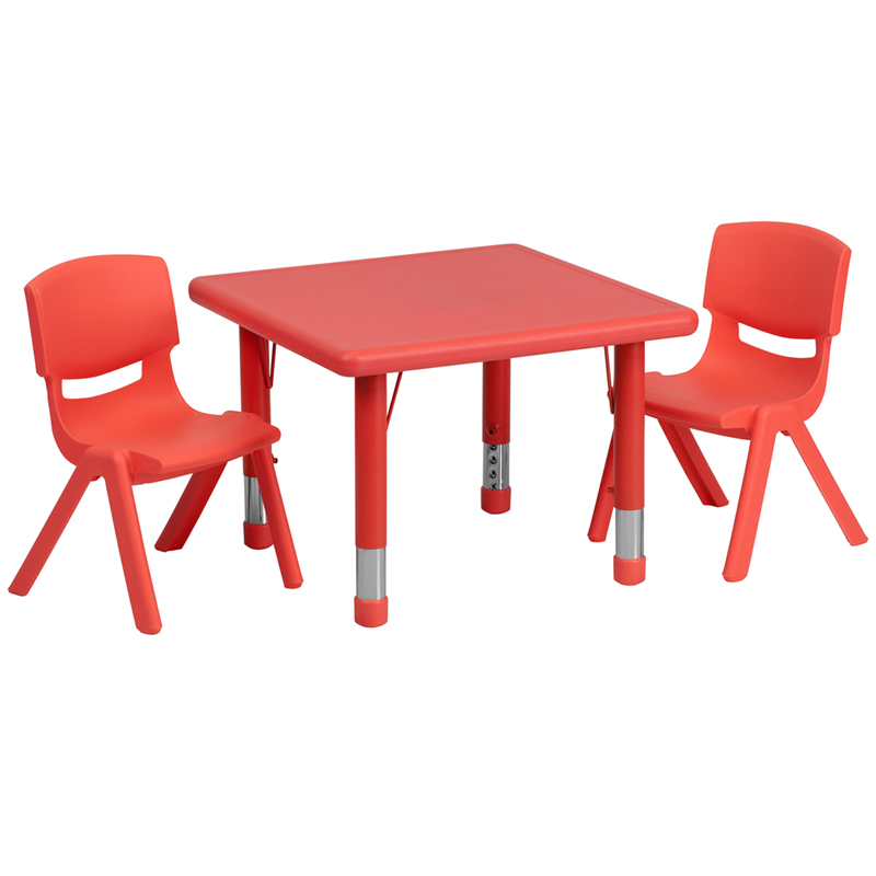 #23 - 24'' SQUARE ADJUSTABLE RED PLASTIC ACTIVITY TABLE SET WITH 2 SCHOOL STACK CHAIRS