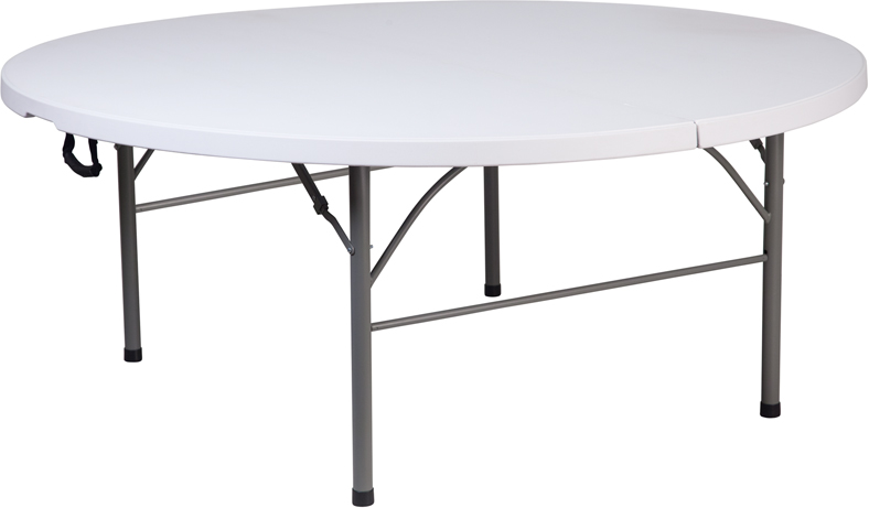 "#25 - 71"" Bi-Fold Round Commercial Quality Granite White Plastic Folding Banquet Table"