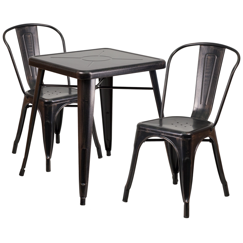 #151 - 23.75'' Black Antique Gold Metal Indoor-Outdoor Table Set w/ 2 Stack Chairs