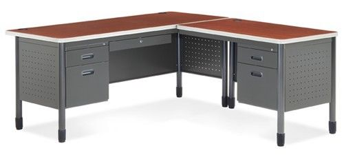 #6 - Mesa Series Secretarial Office Desk with Cherry Top and Right Return
