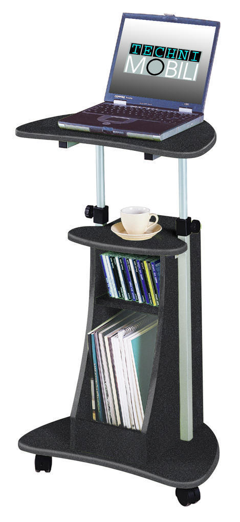 #32 - Modern Mobile Adjustable Height Laptop Desk with Storage Compartment & 2 Shelves