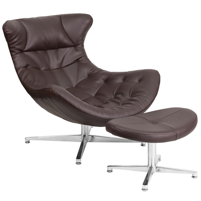 #56 - Retro Style Brown Leather Cocoon Accent Chair with Ottoman - Lounge Chair