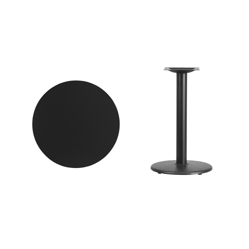 #9 - 24'' Round Black Laminate Table Top with 18'' Round Table Height Base