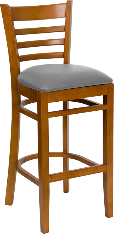#37 - CHERRY WOOD FINISHED LADDER BACK RESTAURANT BAR STOOL WITH GRAY VINYL SEAT