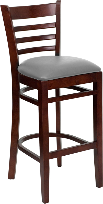 #38 - MAHOGANY WOOD FINISHED LADDER BACK RESTAURANT BAR STOOL WITH GRAY VINYL SEAT
