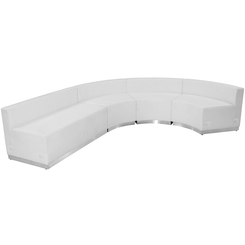 #79 - LOUNGE SERIES WHITE LEATHER RECEPTION CONFIGURATION, 4 PIECES