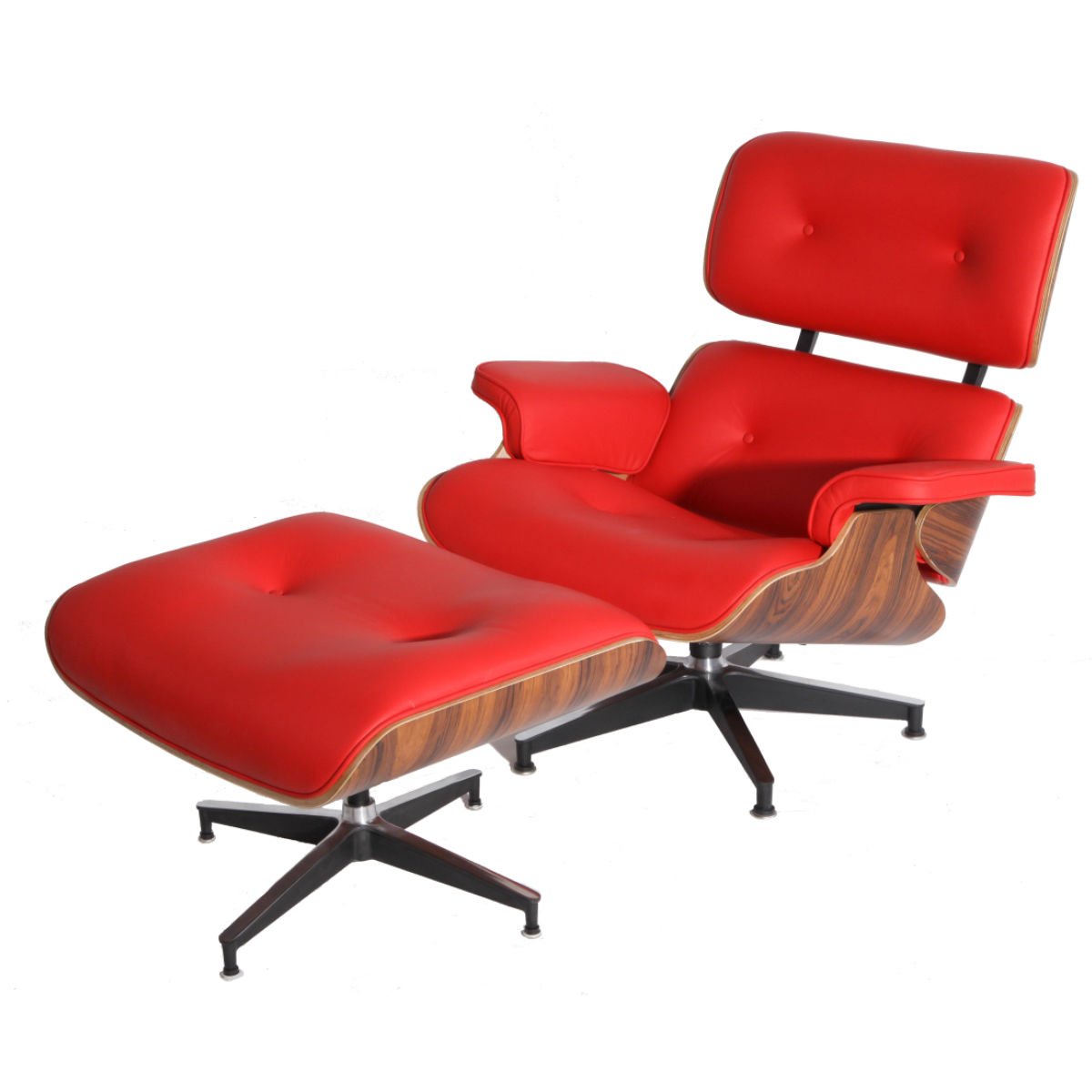 #70 - Mid-Century Classic Design Palisander Lounge Chair and Ottoman Set in Red Top Grain Leather