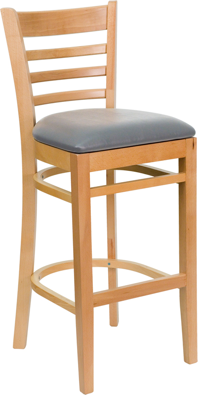 #43 - NATURAL WOOD FINISHED LADDER BACK RESTAURANT BAR STOOL WITH GRAY VINYL SEAT