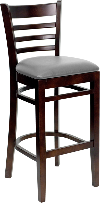 #44 - WALNUT WOOD FINISHED LADDER BACK RESTAURANT BAR STOOL WITH GRAY VINYL SEAT