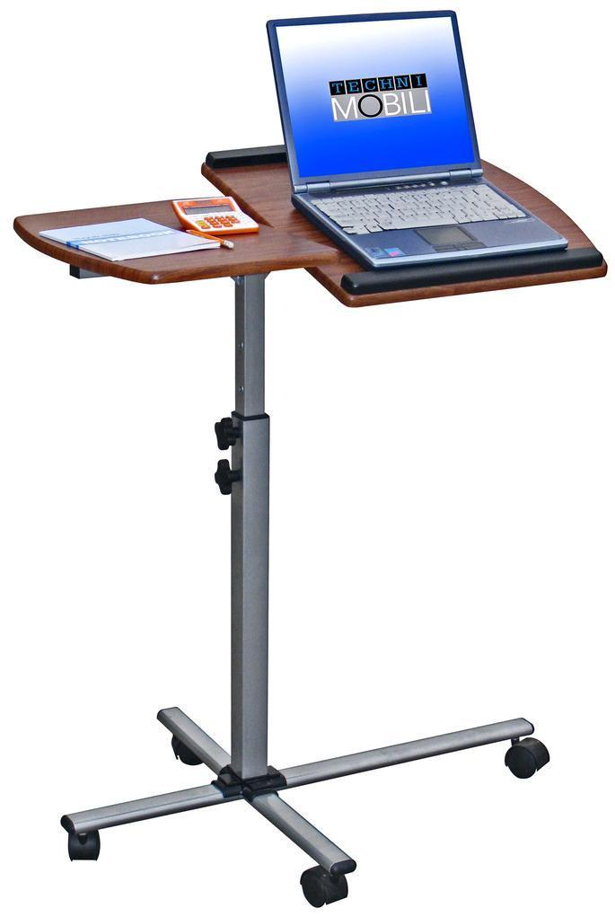 #30 - Modern Mobile Adjustable Height Laptop Desk with Wheel Casters in Mahogany