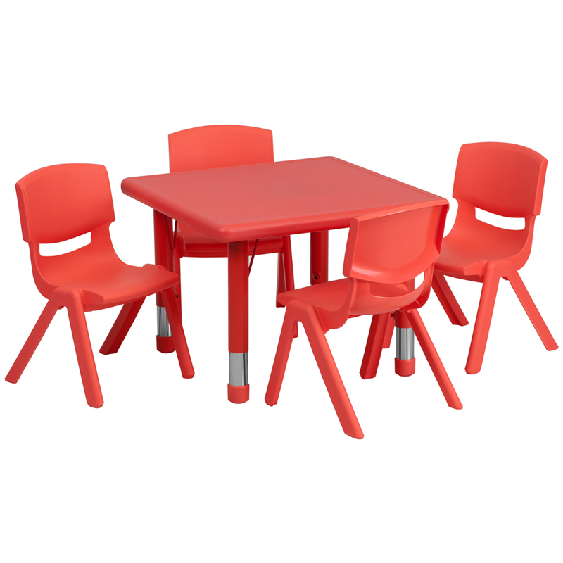 #24 - 24'' SQUARE ADJUSTABLE RED PLASTIC ACTIVITY TABLE SET WITH 4 SCHOOL STACK CHAIRS