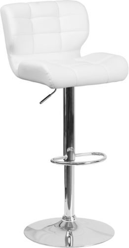 #238 - Contemporary Tufted White Vinyl Adjustable Height Barstool w/Chrome Base