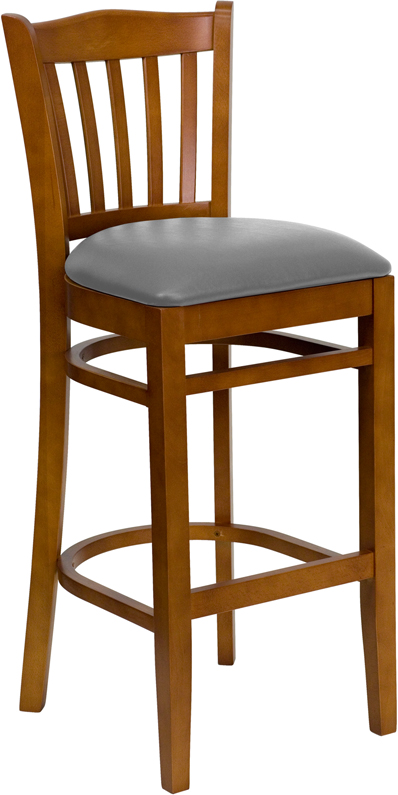 #45 - CHERRY WOOD FINISHED VERTICAL SLAT BACK RESTAURANT BAR STOOL WITH GRAY VINYL