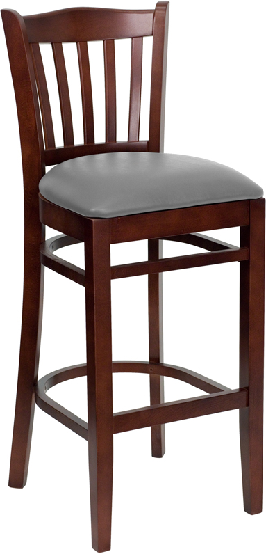#46 - MAHOGANY WOOD FINISHED VERTICAL SLAT BACK RESTAURANT BAR STOOL WITH GRAY VINYL