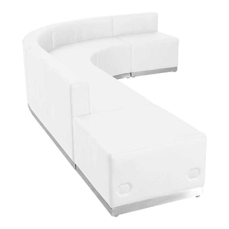 #81 - LOUNGE SERIES WHITE LEATHER RECEPTION CONFIGURATION, 5 PIECES