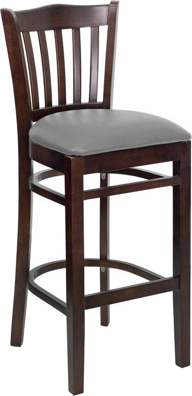 #48 - WALNUT WOOD FINISHED VERTICAL SLAT BACK RESTAURANT BAR STOOL WITH GRAY VINYL