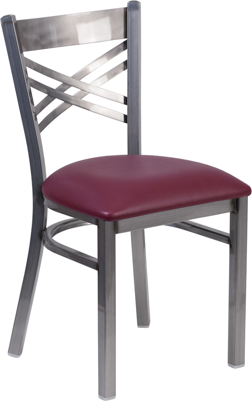 #29 - Clear Coated ''X'' Back Metal Restaurant Chair Burgundy Vinyl Upholstered Seat