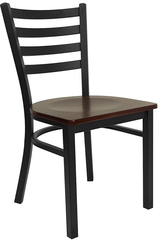 #69 - BLACK LADDER BACK METAL RESTAURANT CHAIR - MAHOGANY WOOD SEAT