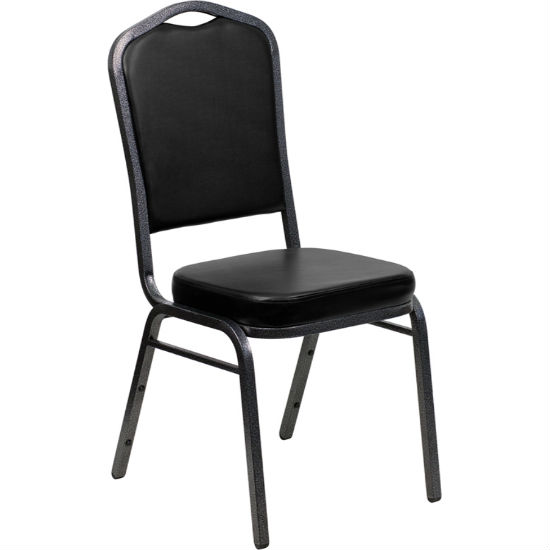 #3 - CROWN BACK BANQUET CHAIR WITH BLACK VINYL AND SILVER VEIN FRAME