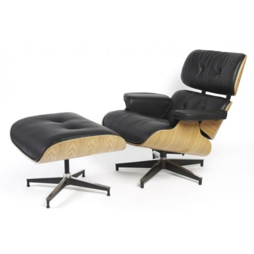#62 - Mid-Century Classic Design Ashwood Lounge Chair and Ottoman Set in Black Top Grain Leather