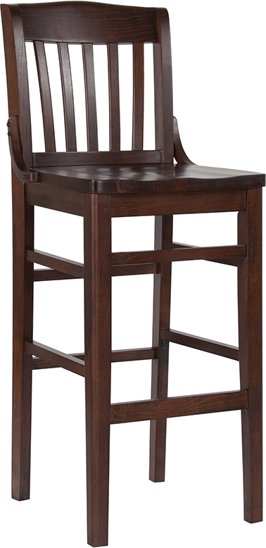 #50 - WALNUT WOOD FINISHED SCHOOL HOUSE BACK RESTAURANT BAR STOOL WITH WOOD SEAT