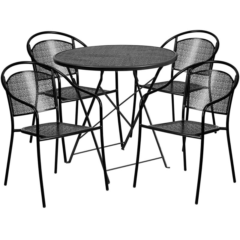 #104 - 30'' Round Black Indoor-Outdoor Patio Restaurant Table Set with 4 Round Back Chairs