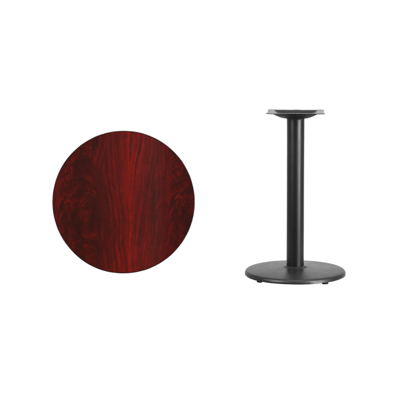 #11 - 24'' Round Mahogany Laminate Table Top with 18'' Round Table Height Base