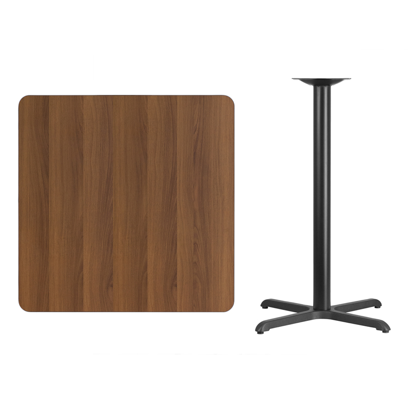 #95 - 36'' SQUARE WALNUT LAMINATE TABLE TOP WITH 30'' X 30'' BAR HEIGHT BASE