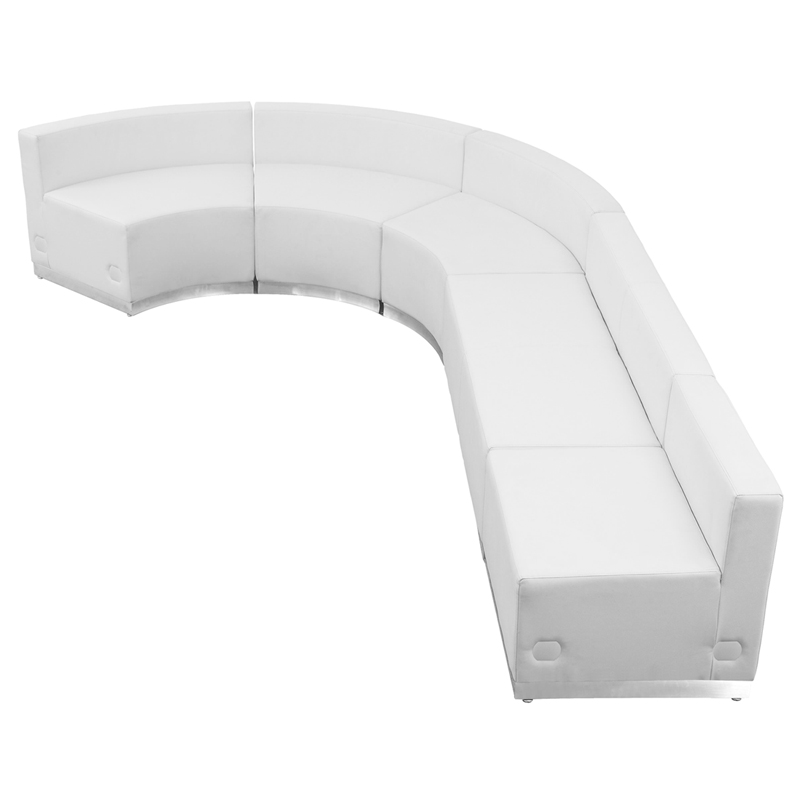 #82 - LOUNGE SERIES WHITE LEATHER RECEPTION CONFIGURATION, 5 PIECES