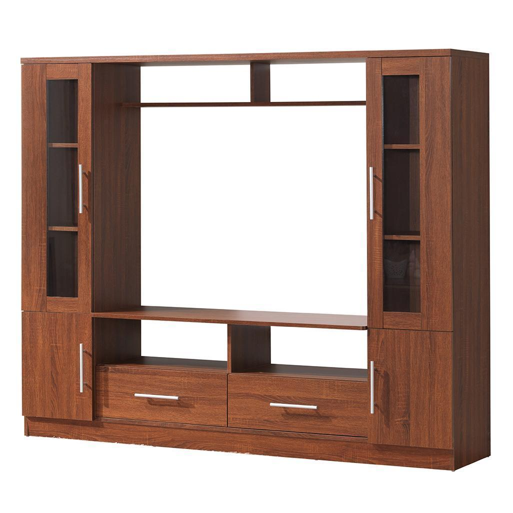 # - 50'' Entertainment Center TV Stand with 4 Drawer and Side Shelves in Oak