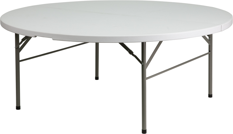 #27 - 72'' ROUND BI-FOLD GRANITE WHITE PLASTIC FOLDING TABLE