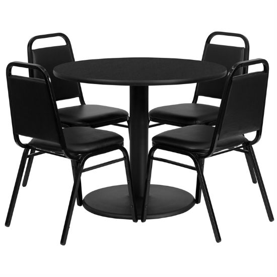 #2 - 36'' ROUND BLACK LAMINATE TABLE SET WITH 4 BLACK TRAPEZOIDAL BACK BANQUET CHAIRS