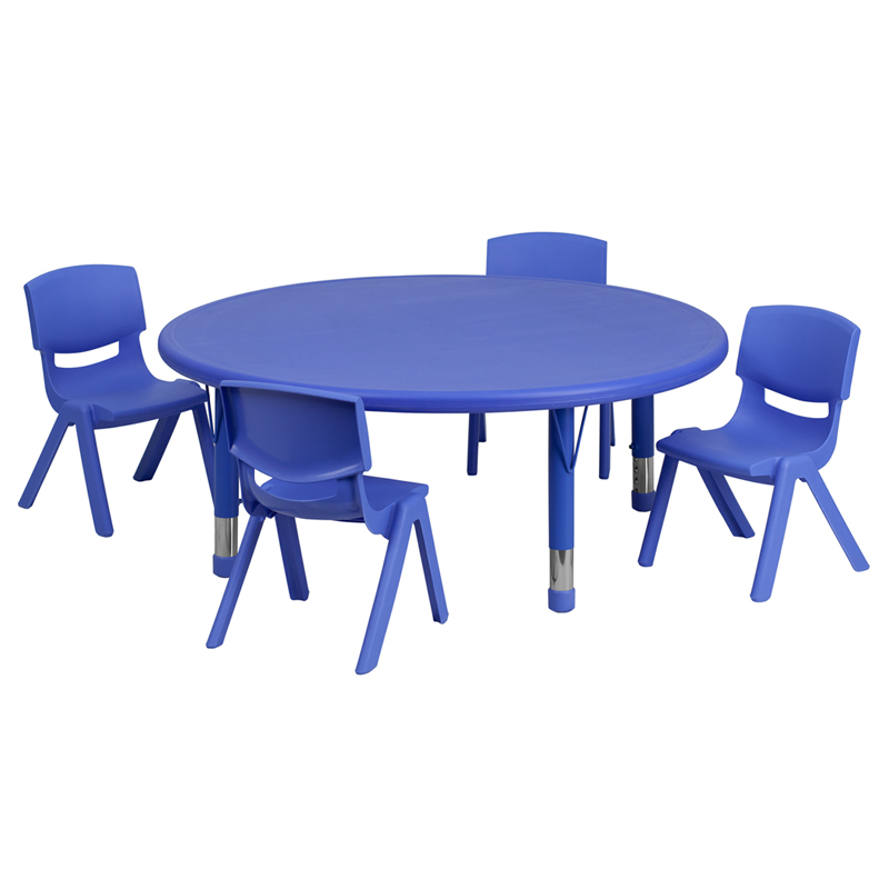 #26 - 45'' ROUND ADJUSTABLE BLUE PLASTIC ACTIVITY TABLE SET WITH 4 SCHOOL STACK CHAIRS