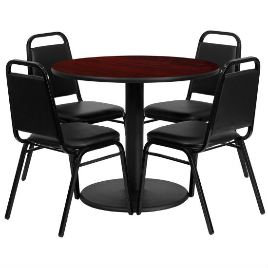 #4 - 36'' ROUND MAHOGANY LAMINATE TABLE SET WITH 4 BLACK TRAPEZOIDAL BACK BANQUET CHAIRS