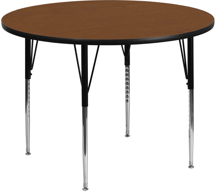 #95 -  48'' Round Activity Table with 1.25'' Thick High Pressure Oak Laminate Top and Standard Height Adjustable Legs