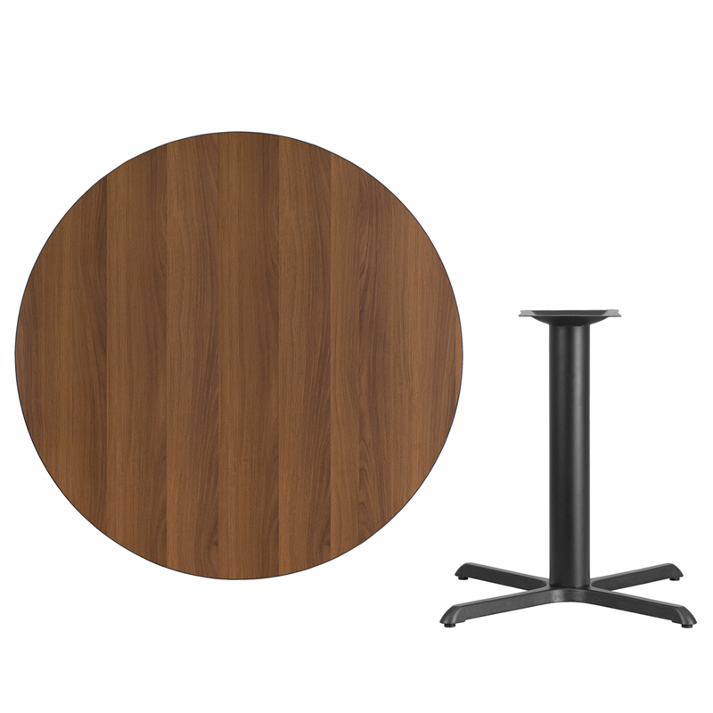 #54 - 42'' Round Walnut Laminate Table Top with 33'' x 33'' Table Height Base