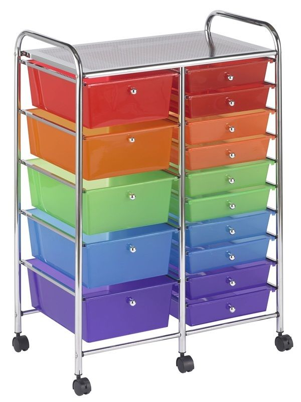 #55 - 15 Drawer Mobile Organizer in Rainbow