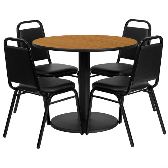 #6 - 36'' ROUND NATURAL LAMINATE TABLE SET WITH 4 BLACK TRAPEZOIDAL BACK BANQUET CHAIRS
